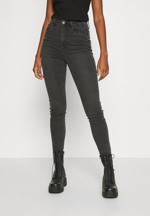 NMAGNES SLIT - Skinny džíny - medium grey denim