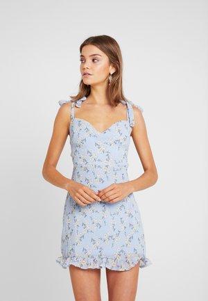 FLORAL TIE SHOULDER MINI DRESS - Vestito elegante - blue