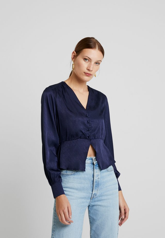 PEPLUM WITH FRONT BUTTON DETAILING - Button-down blouse - midnight blue