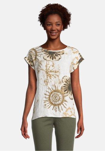 Print T-shirt - white/camel