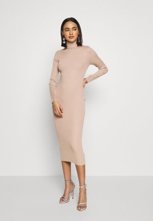 ROLL NECK MIDI DRESS - Shift dress - camel