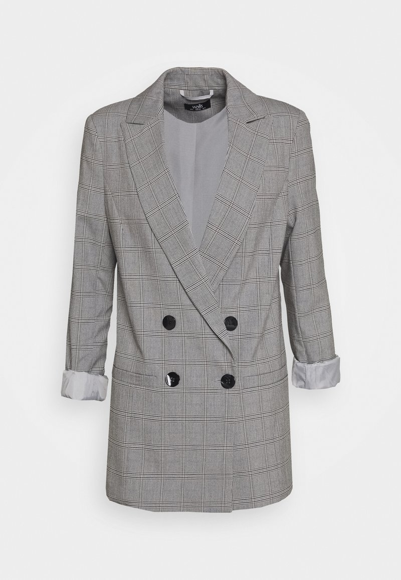 Wallis - CHECKED - Short coat - grey