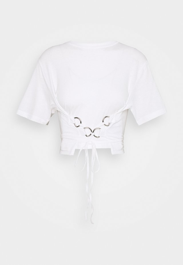 RING UP TIE TOP - T-shirt print - white