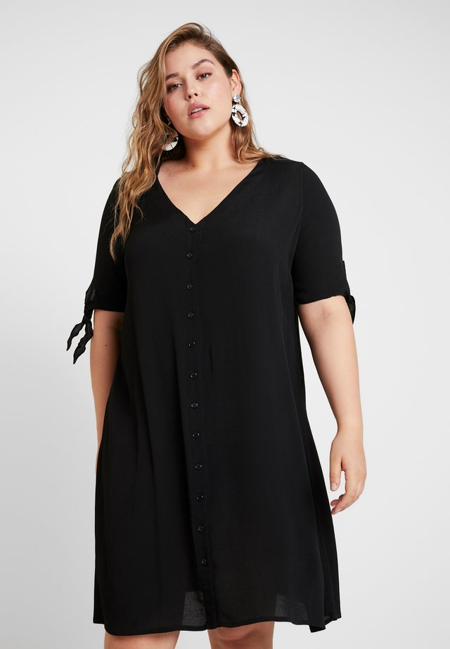 WITH TIES V NECK MINI DRESS - Shirt dress - black