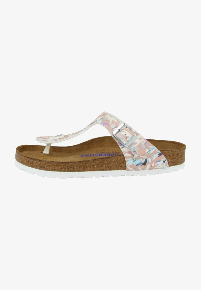 GIZEH  - T-bar sandals - foral fades crystal rose