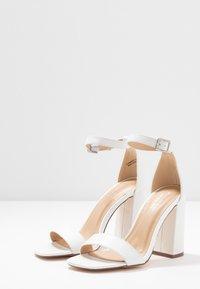 Miss Selfridge Wide Fit - WIDE FIT STEFFI SQAURE TOE BLOCK - High heeled sandals - white - 4