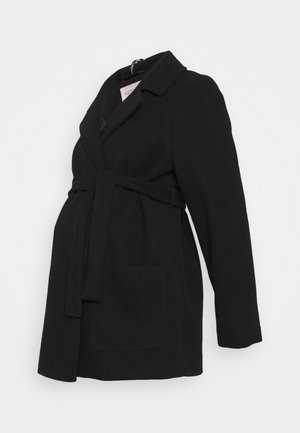 SHORT BELTED WRAP COAT - Veste d'hiver - black