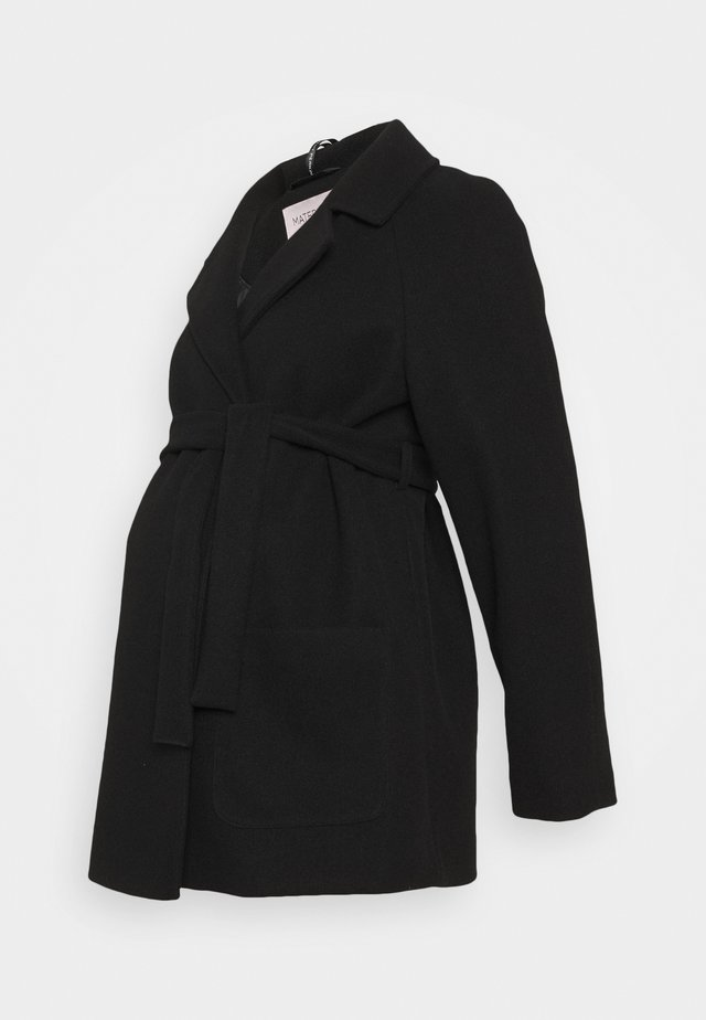 SHORT BELTED WRAP COAT - Winterjas - black