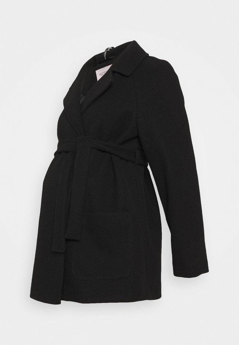 Dorothy Perkins Maternity - SHORT BELTED WRAP COAT - Winter jacket - black