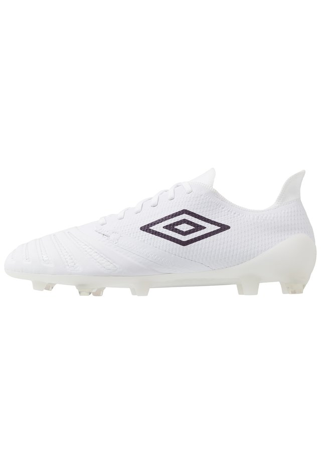 UX ACCURO III PRO FG - Moulded stud football boots - white/plum