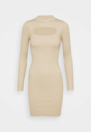 EUPHORIA MINI DRESS - Pletené šaty - stone