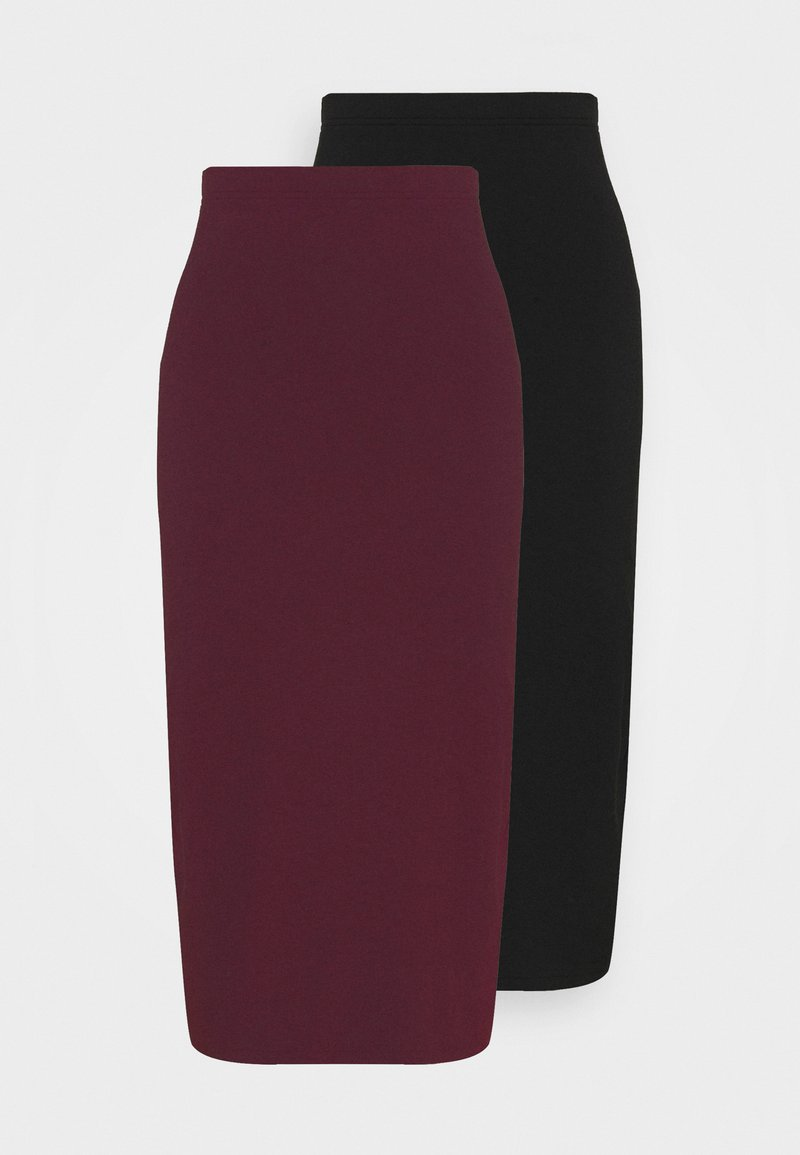 Even&Odd - 2 PACK - Pencil skirt - black/bordeaux