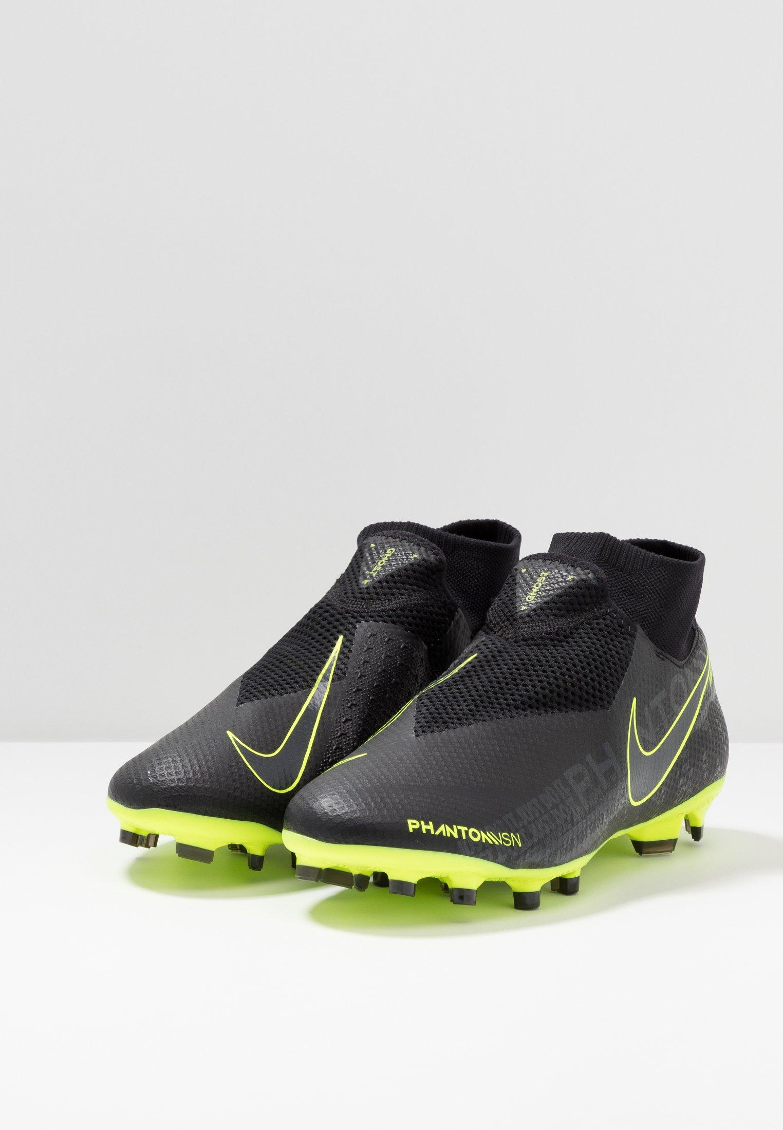 Nike Performance PHANTOM VSN PRO DF FG - Fußballschuh Nocken - black/volt/schwarz - Herrenschuhe vzJd1