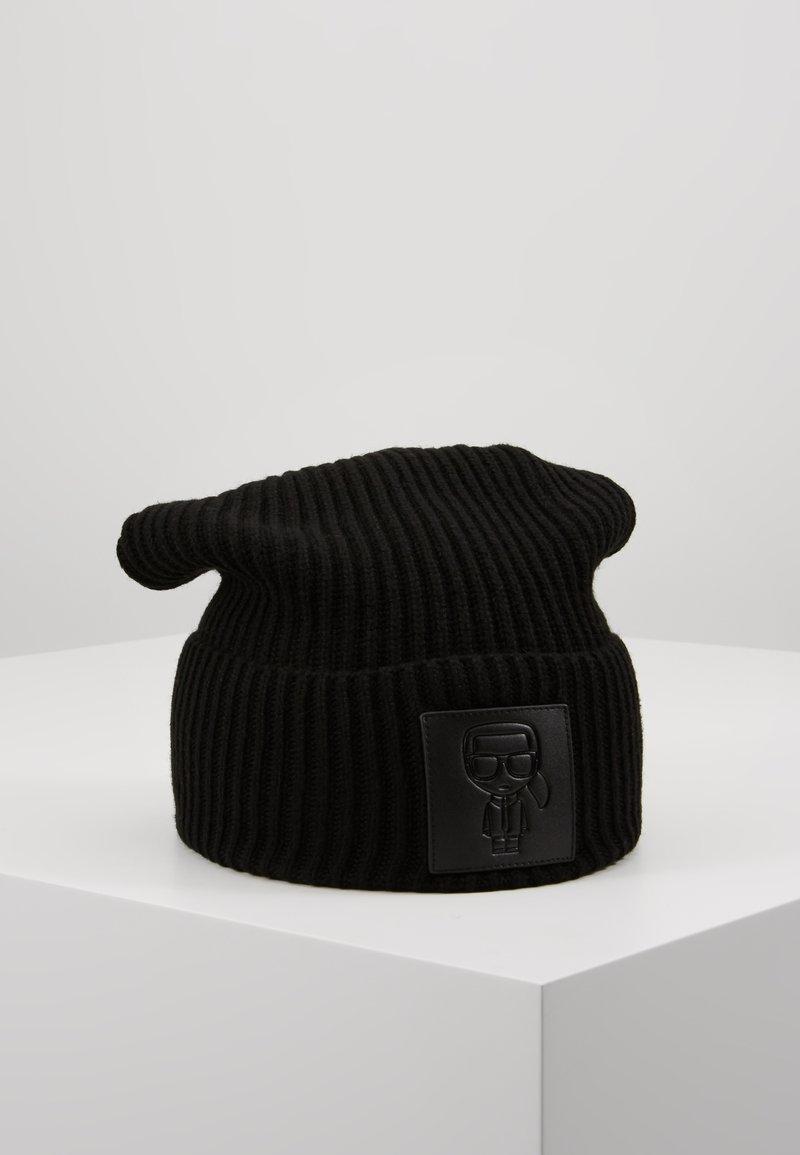 KARL LAGERFELD - IKONIK PATCH BEANIE - Mütze - black