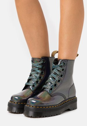 VEGAN MOLLY - Lace-up ankle boots - gunmetal