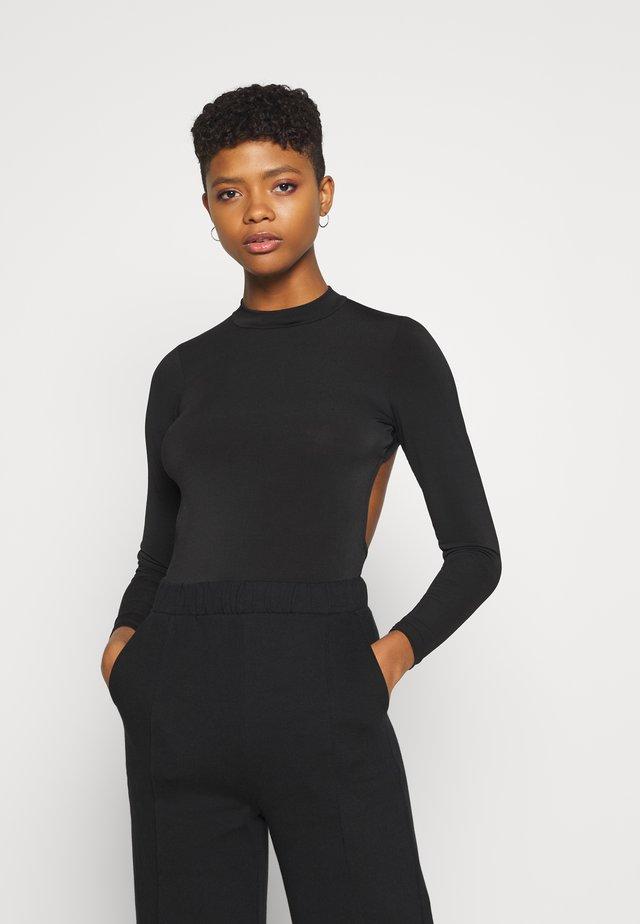 MYRA OPEN BACK - Bluzka z długim rękawem - black