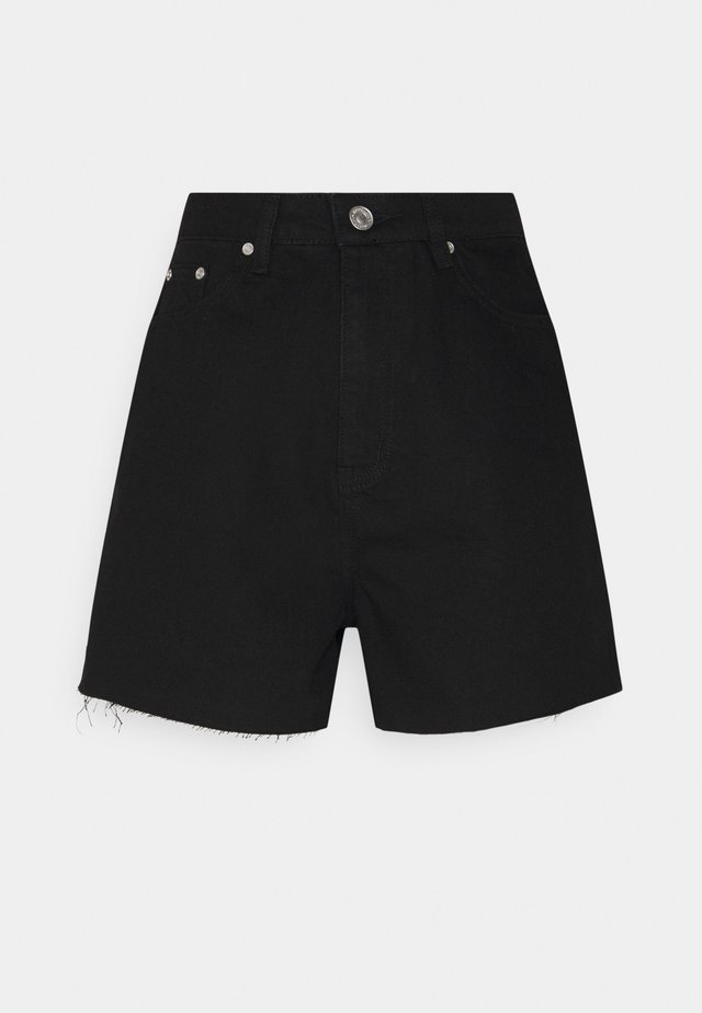 RIOT RAW HEM HIGHWAISTED MOM  - Shorts - black