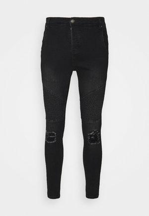 DISTRESSED BIKER - Jeans Skinny Fit - washed black