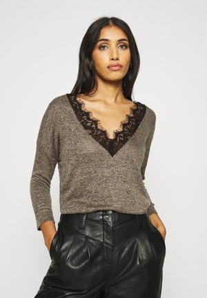 VMBRIANNA 3/4 V BACK - T-shirt à manches longues - sepia tint/black melange