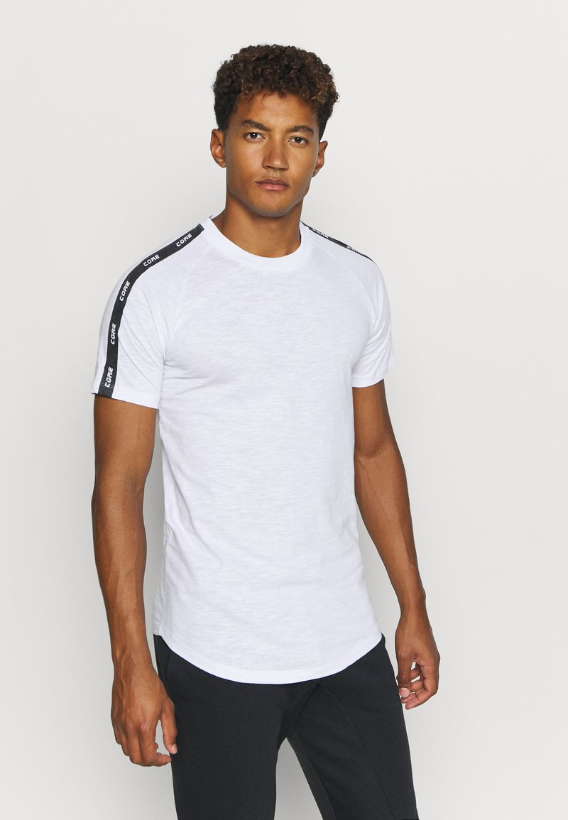 Jack & Jones - JCOCURVE TRAIN TEE CREW NECK - Print T-shirt - white