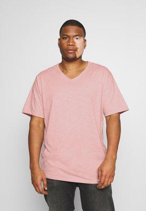 RAW VNECK SLUB TEE - Basic T-shirt - pink
