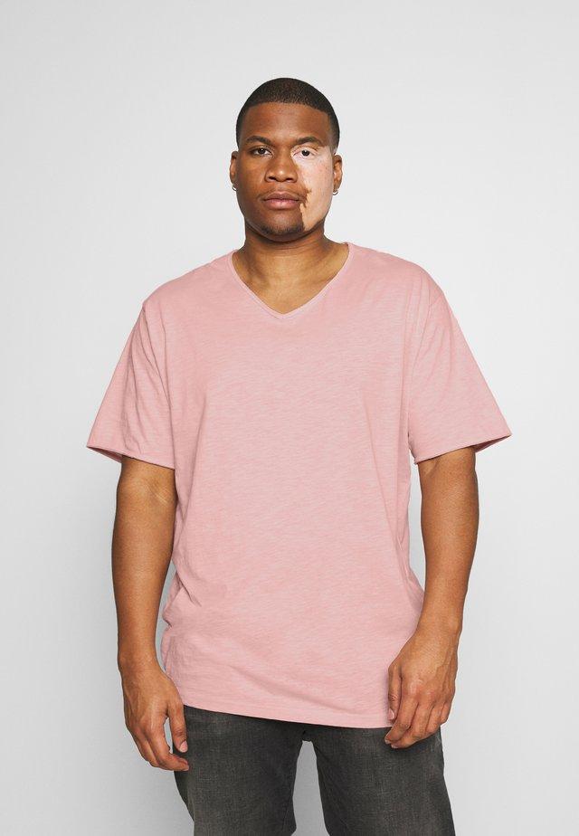 RAW VNECK SLUB TEE - T-shirt - bas - pink