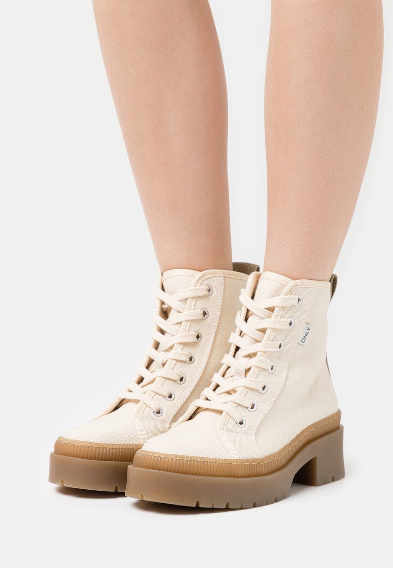 ONLY SHOES - ONLPHOBE LACE UP BOOT  - Platform ankle boots - offwhite