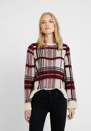 ONQSANDY CHECKED - Strickpullover - eggnog/red/black