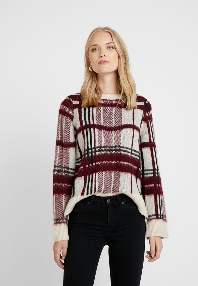 ONQSANDY CHECKED - Maglione - eggnog/red/black