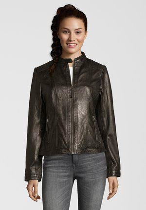 URSEL - Leather jacket - black