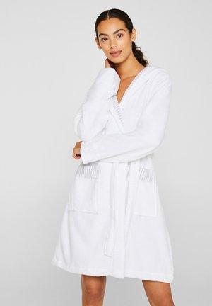BADEMANTEL MIT STREIFEN - Dressing gown - white