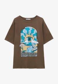 PULL&BEAR - Print T-shirt - mottled light brown - 4