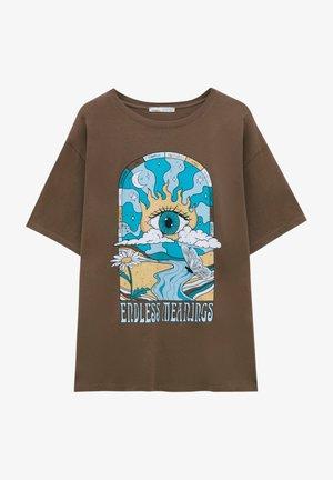 T-shirt med print - mottled light brown