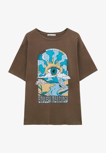 Print T-shirt - mottled light brown