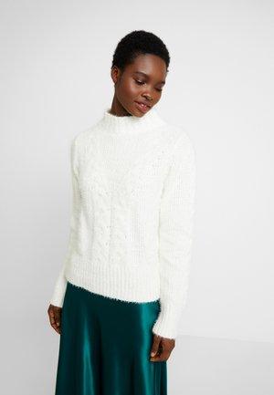 HIGH NECK CABLE - Pullover - cream