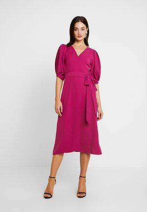 PUFF SLEEVE WRAP MIDI DRESS - Day dress - pink
