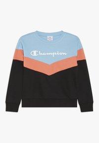 Champion - CHAMPION X ZALANDO COLORBLOCK CREWNECK  - Sweatshirt - black/light blue/coral - 0