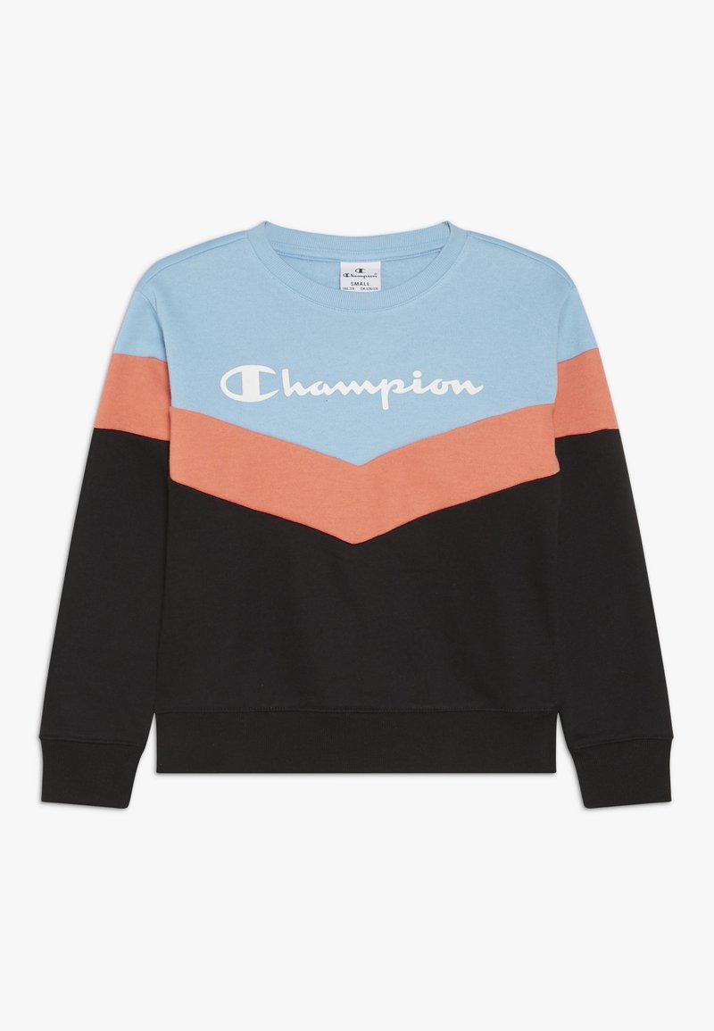 Champion - CHAMPION X ZALANDO COLORBLOCK CREWNECK  - Sweatshirt - black/light blue/coral