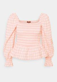Missguided - CHECK SHIRRED DETAIL PEPLUM - Camiseta de manga larga - pink - 3