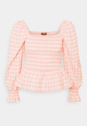 CHECK SHIRRED DETAIL PEPLUM - Long sleeved top - pink