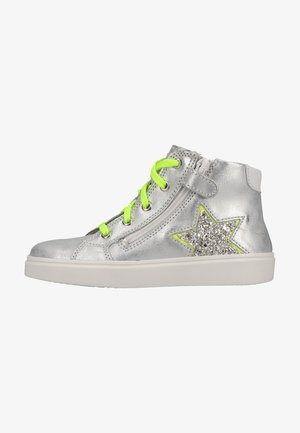 High-top trainers - silver/neon yellow/white