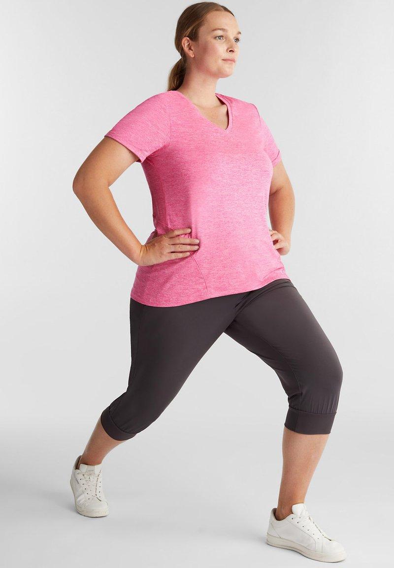 Esprit Sports - CURVY MELANGE - Basic T-shirt - pink fuchsia