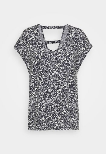 V NECK  - Print T-shirt - blue