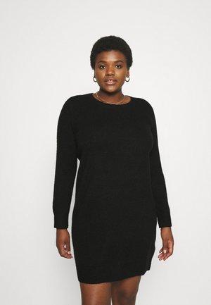 VMVIGGA O-NECK DRESS - Pletené šaty - black