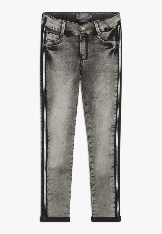 GIRLS STREIFEN CROPPED - Jeans Skinny - light black