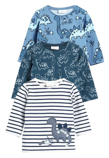 BLUE 3 PACK DINOSAUR T-SHIRTS (0MTHS-3YRS) - Long sleeved top - blue
