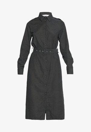 FRONT BUTTON BELTED DRESS - Shirt dress - black
