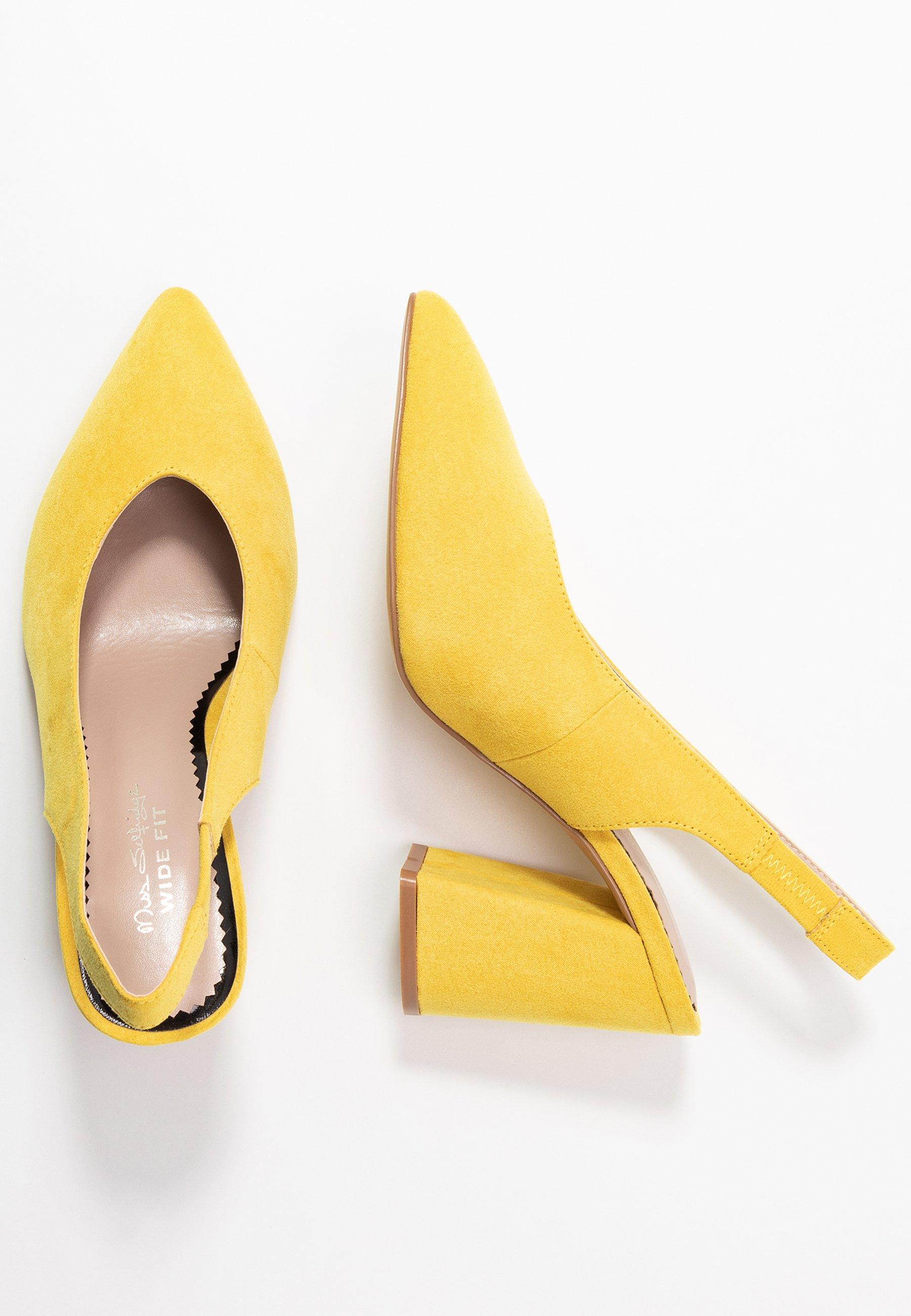 Miss Selfridge Wide Fit WIDE FIT CARRIE SLING BACK COURT - Escarpins à talons hauts - yellow - Chaussures à talons femme Original