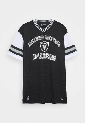 NFL OAKLAND RAIDERSSTRIPE SLEEVE OVERSIZED TEE - Club wear - black
