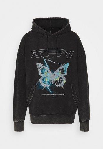 HOOD WITH ELECTRIC BUTTERFLY UNSIEX - Sweatshirt - black